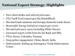 national export strategy highlights