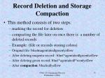 record deletion and storage compaction