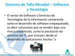 sectores de talla mundial software y tecnolog a