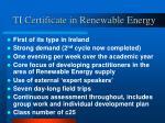 ti certificate in renewable energy