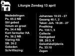liturgie zondag 13 april