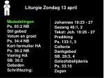 liturgie zondag 13 april1