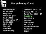 liturgie zondag 13 april13