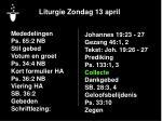 liturgie zondag 13 april15