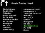 liturgie zondag 13 april18