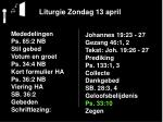 liturgie zondag 13 april19