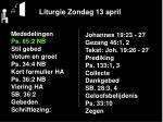 liturgie zondag 13 april2