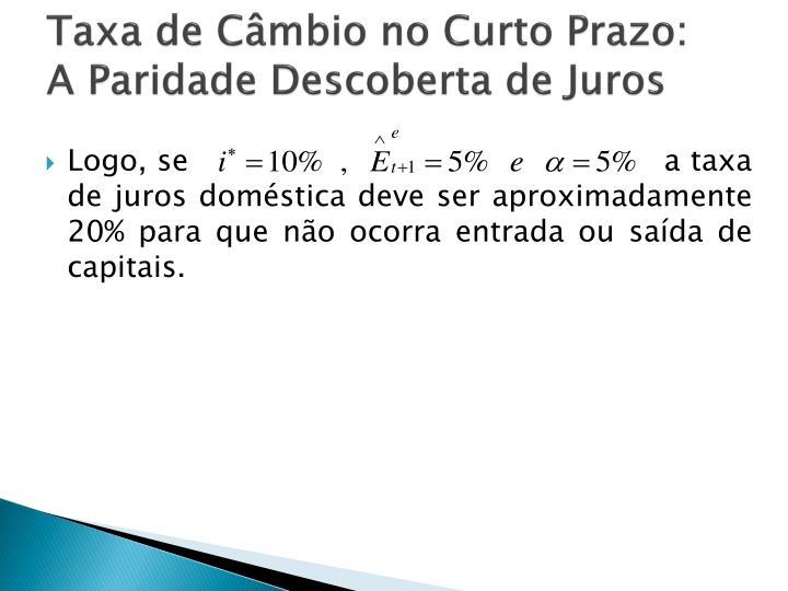 Taxa de Câmbio no Curto Prazo: