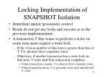 locking implementation of snapshot isolation