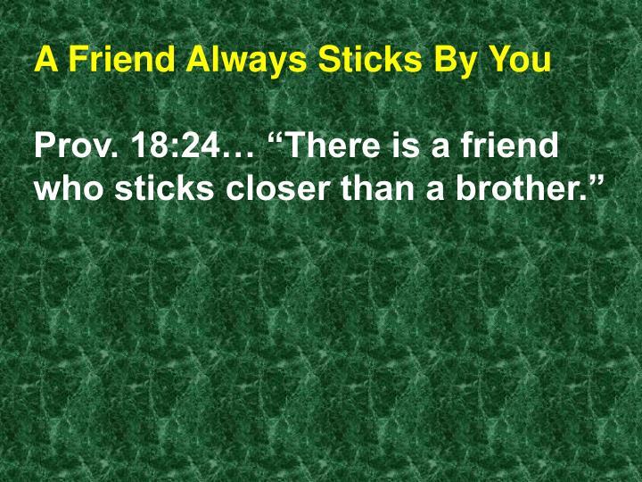 A Friend Always Sticks By You