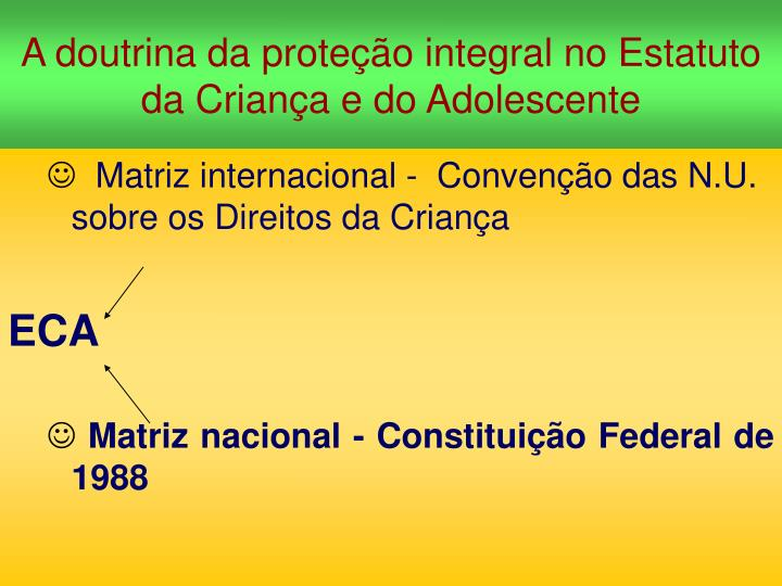 a doutrina da prote o integral no estatuto da crian a e do adolescente n.