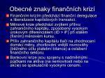 obecn znaky finan n ch kriz