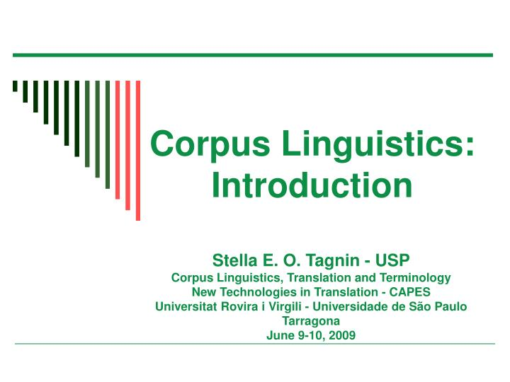 corpus linguistics introduction n.