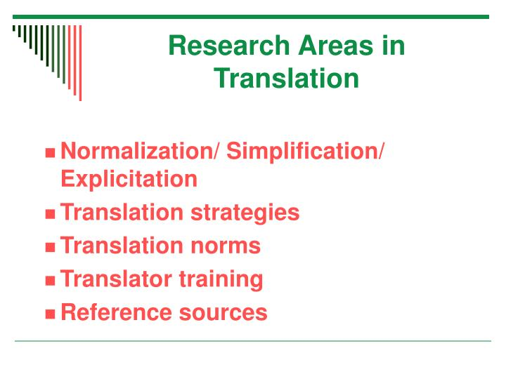 Research Areas in Translation