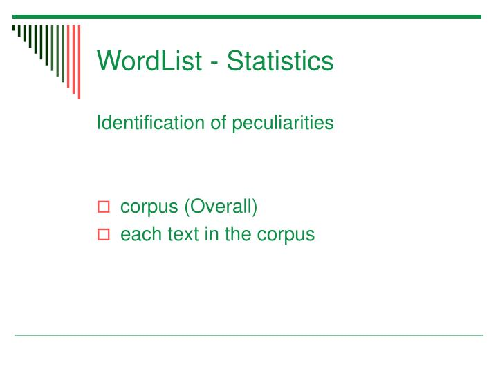 WordList - Statistics
