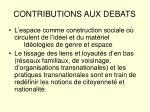 contributions aux debats