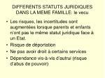 differents statuts juridiques dans la meme famille le vecu