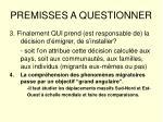 premisses a questionner