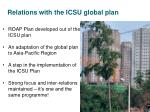 relations with the icsu global plan