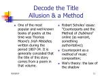 decode the title allusion a method