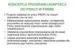 koncepcji programu adaptacji do pracy w firmie