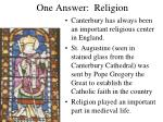 one answer religion