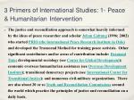 3 primers of international studies 1 peace humanitarian intervention2