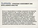 subfields strategic assessment and intelligence analysis1