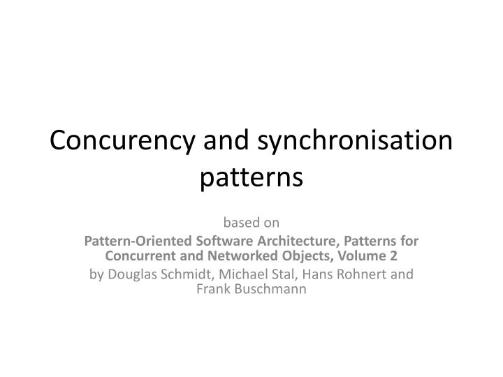 concurency and synchronisation patterns n.