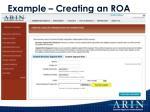 example creating an roa