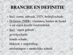 branche en definitie