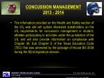 concussion management 2013 2014