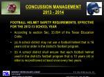 concussion management 2013 20141