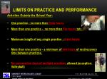 limits on practice and performance