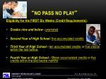 no pass no play