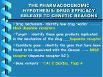 the pharmacogenomic hypothesis drug efficacy releate to genetic reasons