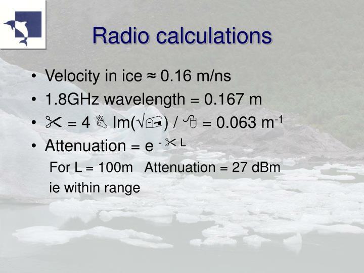 Radio calculations