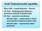 vznik eskoslovensk republiky