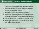 results of road assessment