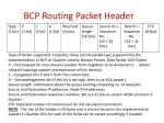 bcp routing packet header