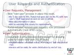 user requests and authentication
