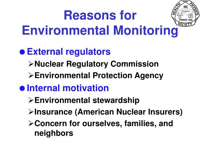 Reasons for Environmental Monitoring