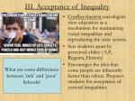 iii acceptance of inequality
