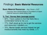 findings basic material resources