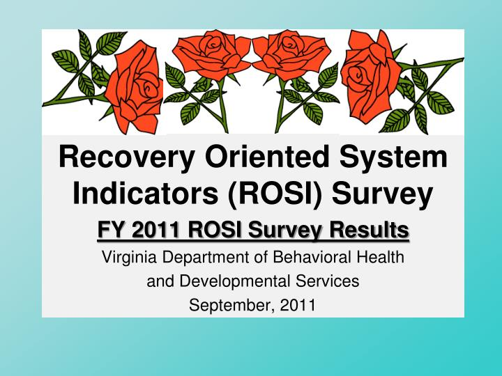 recovery oriented system indicators rosi survey n.