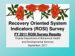 recovery oriented system indicators rosi survey