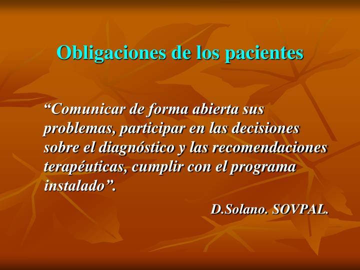 Obligaciones de los pacientes