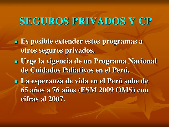 SEGUROS PRIVADOS Y CP