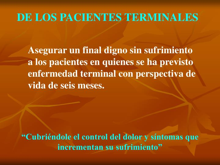 DE LOS PACIENTES TERMINALES