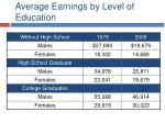 average earnings by level of education